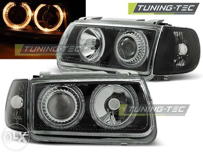 Faruri tuning cu lupa si angel eyes VW Polo 6n Marca DEPO