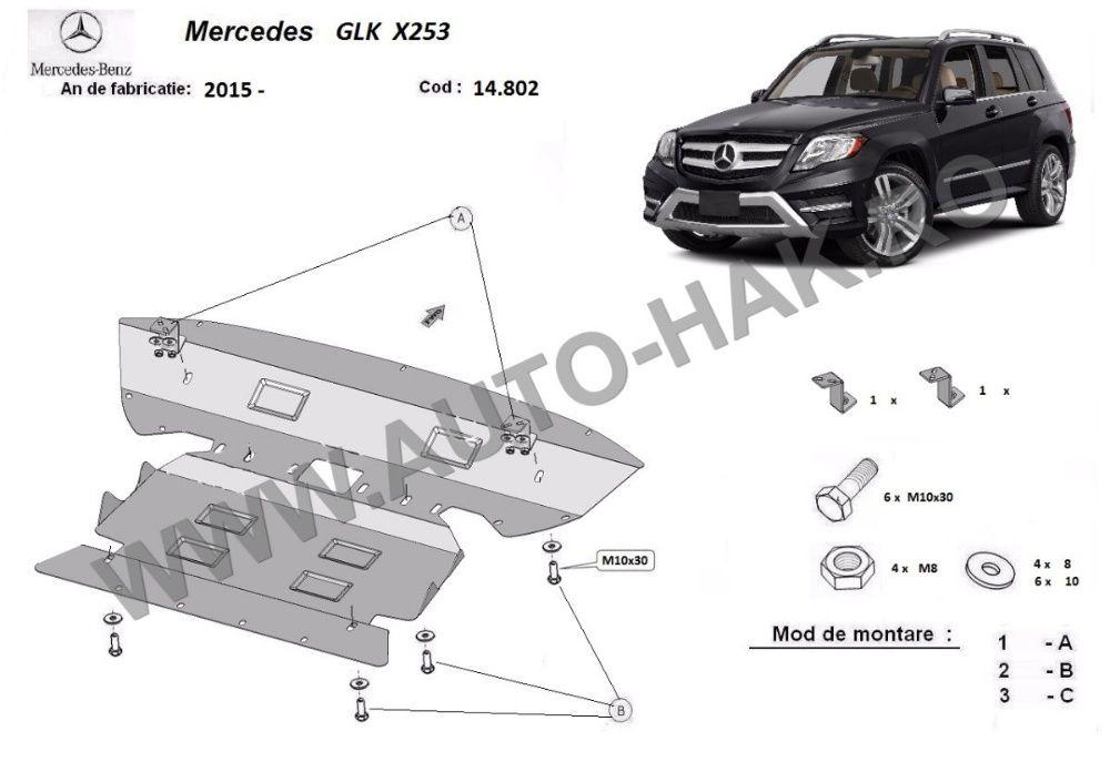 Scut motor metalic Mercedes GLK X253 2015-prezent - otel 2,5mm