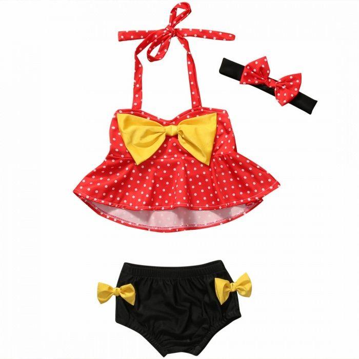 Costum de baie fetita model rochiță america/cu buline +bentita