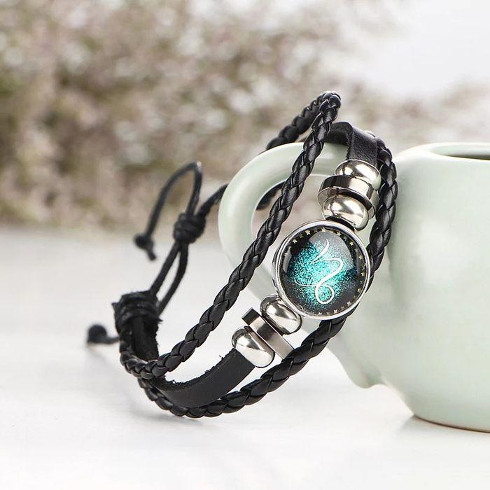 Новый браслет кожаный знак зодиака мужской подарок в упаковке