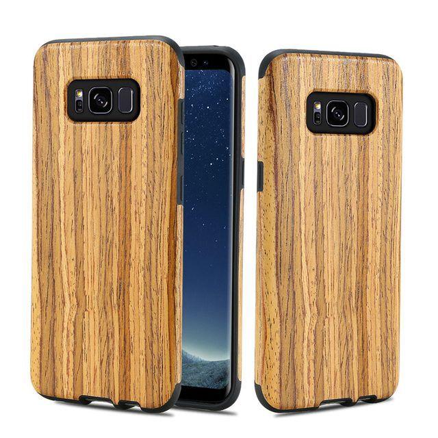 Дървен кейс от естествено дърво и каучук Samsung Galaxy S8, S8 Plus +
