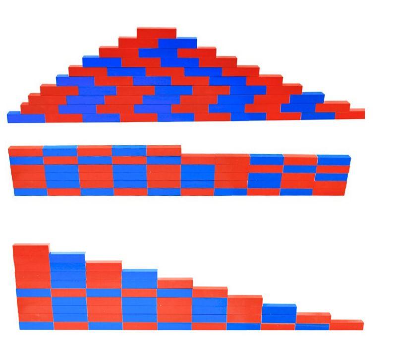 Монтесори Дървени Числови Летви синьо-червени пръчки стикове гр. Бургас - image 5