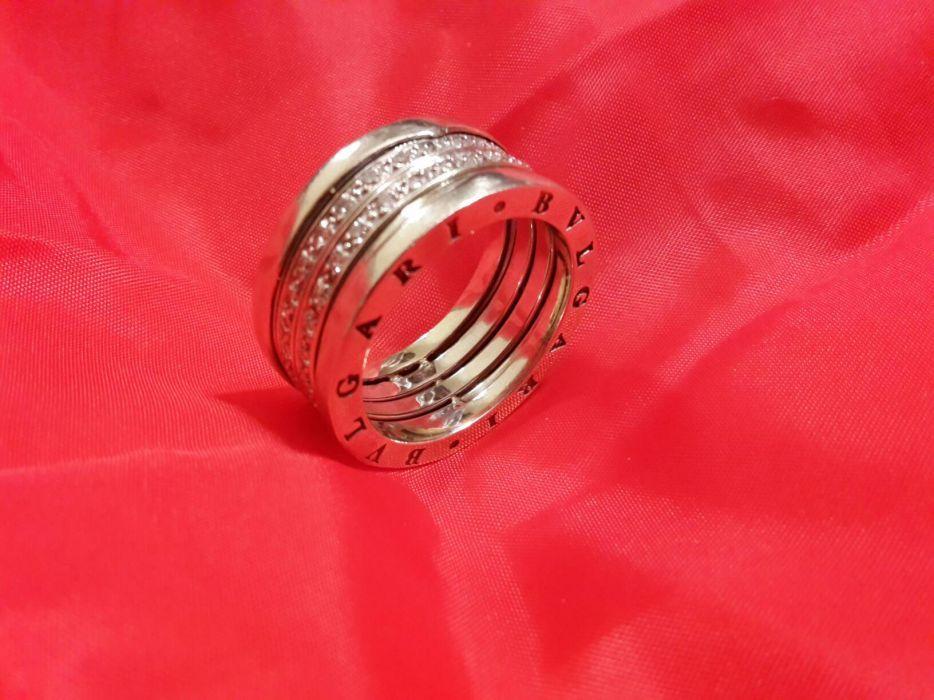 Vând inel bărbătesc aur alb cu diamante - Bvlgari
