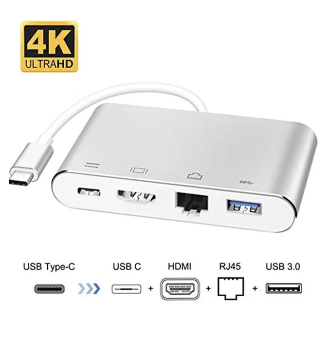 Adaptor USB-C 4K HDMI, LAN RJ45 Port Gigabit pt Macbook si laptop NOU