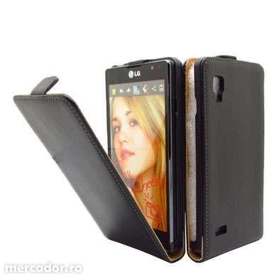 Husa Eleganta TOC FLIP Piele Negru LG Optimus L9 P760 + FOLIE