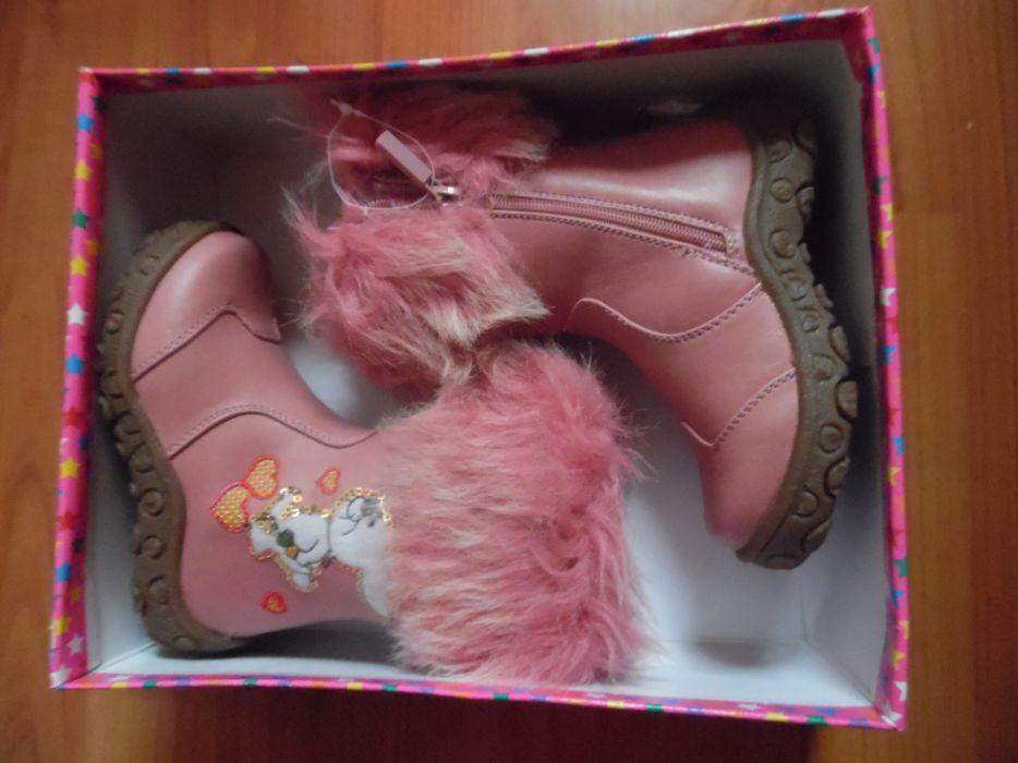 Cizme roz cu blana, masura 25, noi, talpa cauciuc, cu iepuras, paiete.