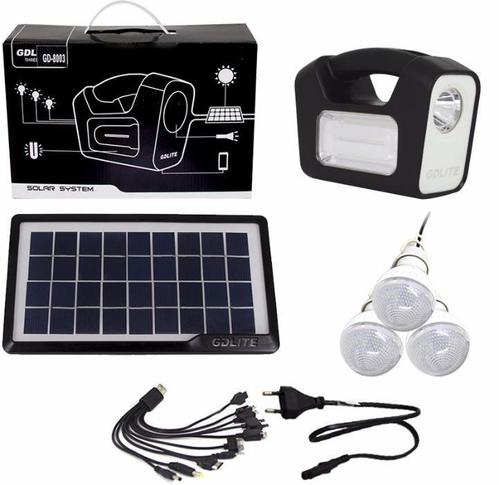 Panou solar kit fotovoltaic GERMAN DESIGN 3 becuri LED incarcare telef