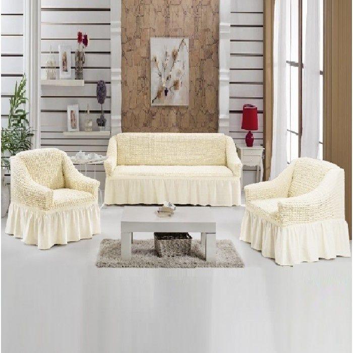 Husa pentru canapea 3 locuri, culoare crem