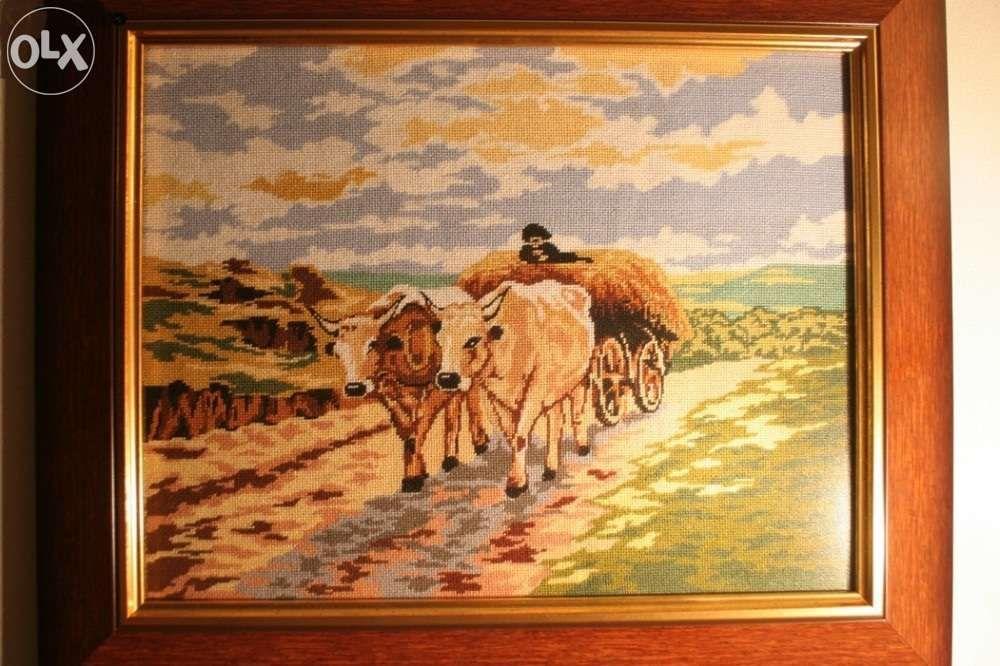 Carul cu boi - goblen fin lucrat manual