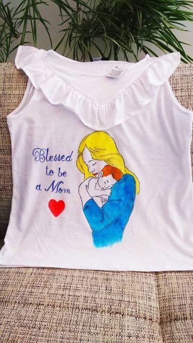 Bluza pentru mamici pictata manual