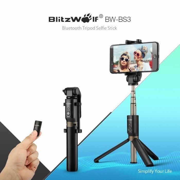 BlitzWolf BW-BS3 Selfie Stick Tripod aluminiu cu telecomanda bluetooth