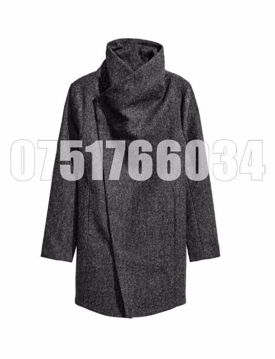 Palton Barbati Casual Elegant Lung Slim Lana Gri Tweed Fashion Urban G
