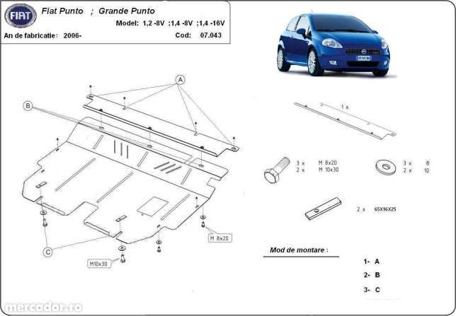 Scut metalic pentru motor Fiat Grande Punto 2006-2016 - otel 2mm