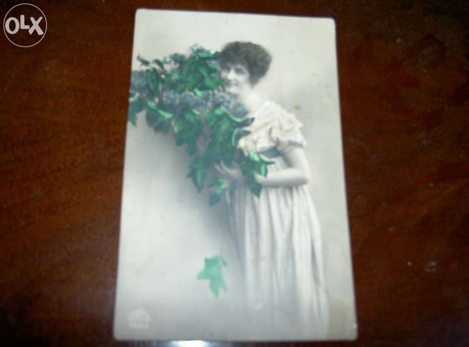 carte postala veche domnisoara cu flori