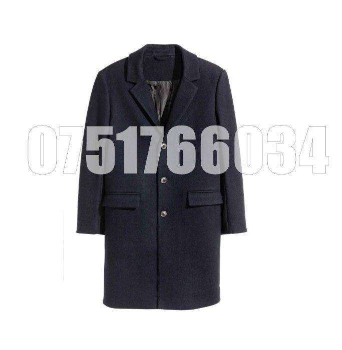 Palton Barbati Casual Elegant Lung Gros Slim Lana Maro Bleumarin Tweed