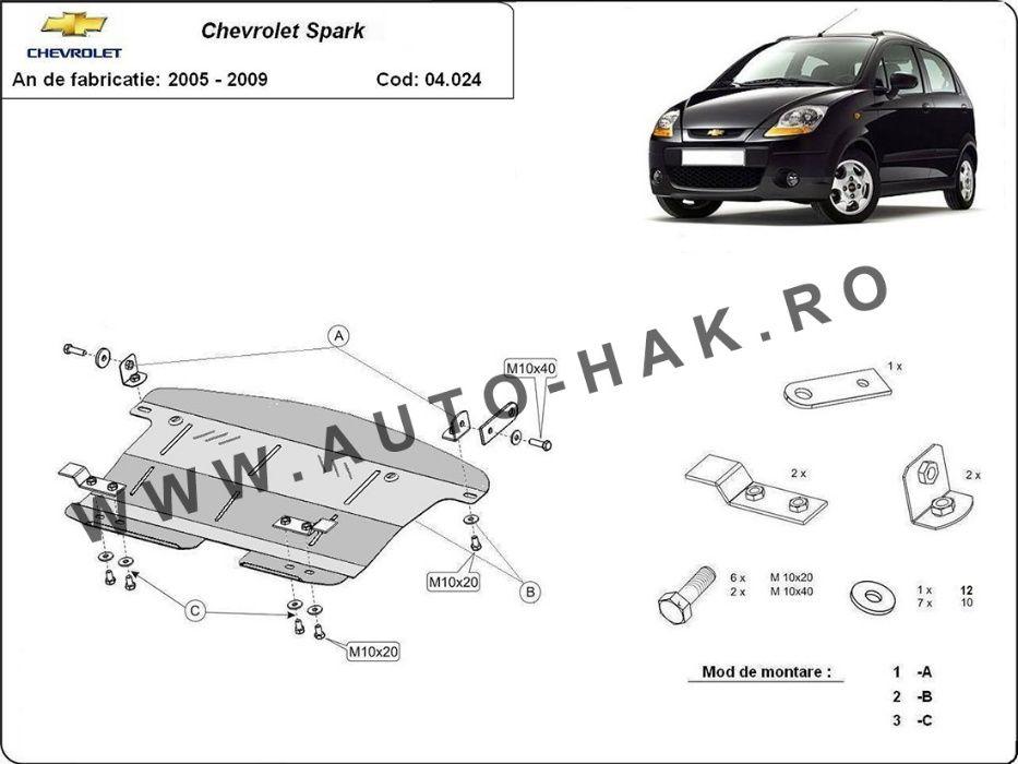Scut motor metalic Chevrolet Spark 2005-2009 - otel 2mm