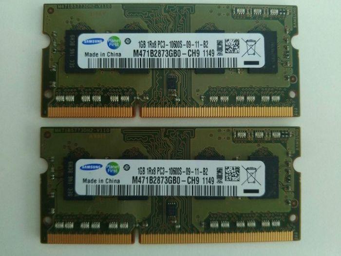 Памет за лаптоп Samsung 2X1GB SODIMM DDR3-1333 PC3-10600