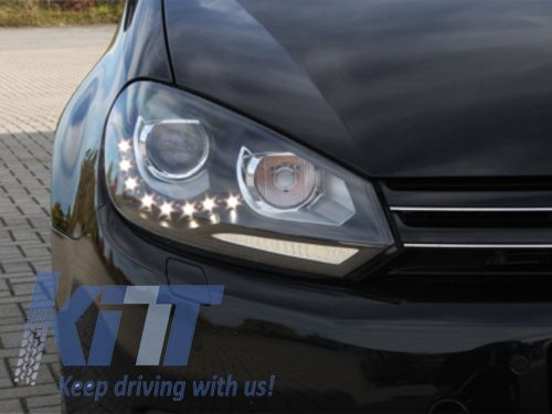 Faruri LED VW Golf 6 GTI LOOK 2008 + Lupa Bifazica DEPO