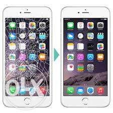 Смяна на счупено стъкло и дисплей за IPHONE4,5,6,7,7+,ниски цени