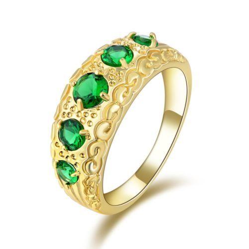 GPR117,inel placat aur 14k, model masiv, zircon verde fatetat