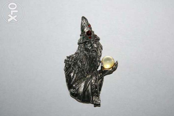 "Brosa Vintage ""Stapanul inelelor"" Gandalf argintata JONETTE JEWELRY"