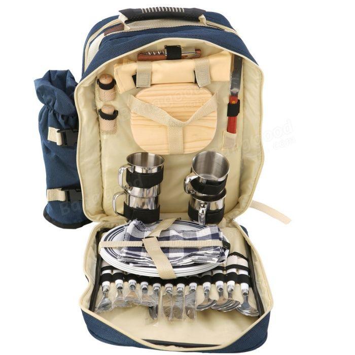 Рюкзак с посудой на 4 персоны для пикников на даче и на природе