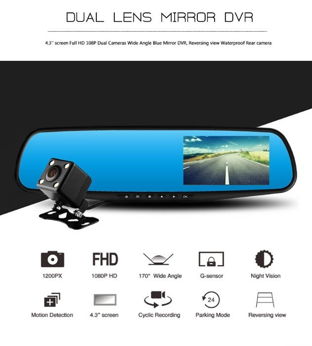Oglinda dual camera full HD - noua(in cutie)