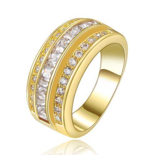 GPR143,inel placat aur 14k, model masiv, lat, zircon alb fatetat