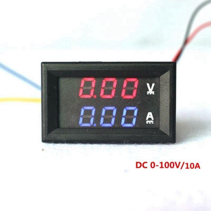 яркий светодиодный вольтметр + амперметр из красных светодиодов