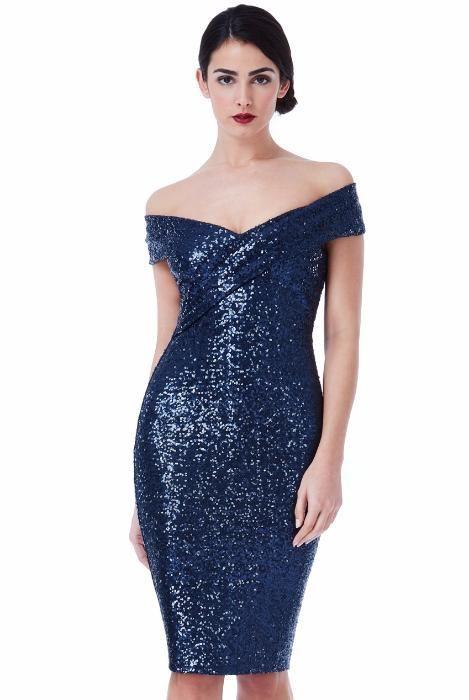 Rochie eleganta/de ocazie cu paiete bleumarin
