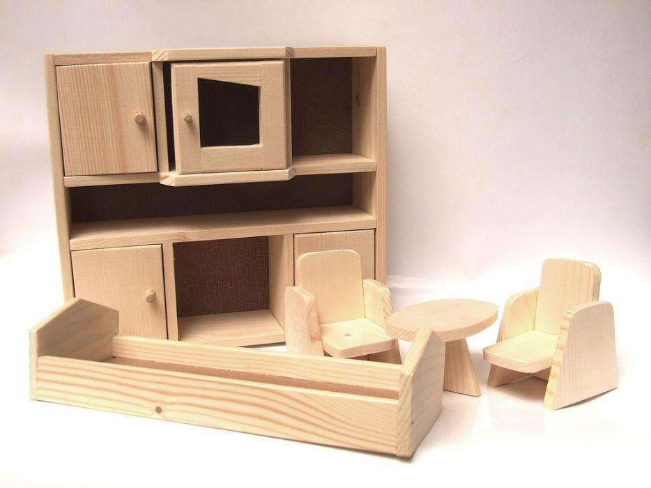 Jucarie lemn set living mobilier papusi natur