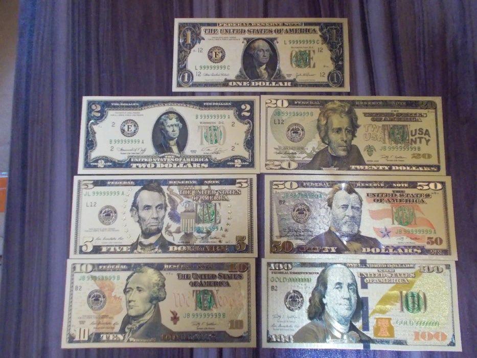 Набор от 1$ -100 $ в золотой фольге 999 пробы