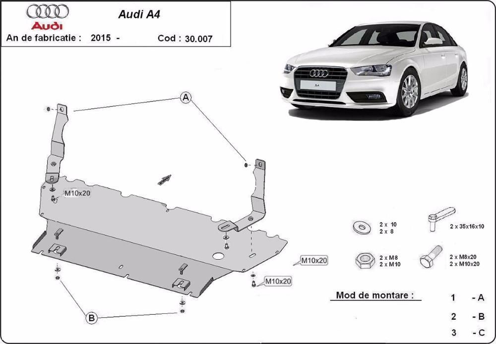 Scut metalic pentru motor Audi A4 2015-prezent - otel 2mm