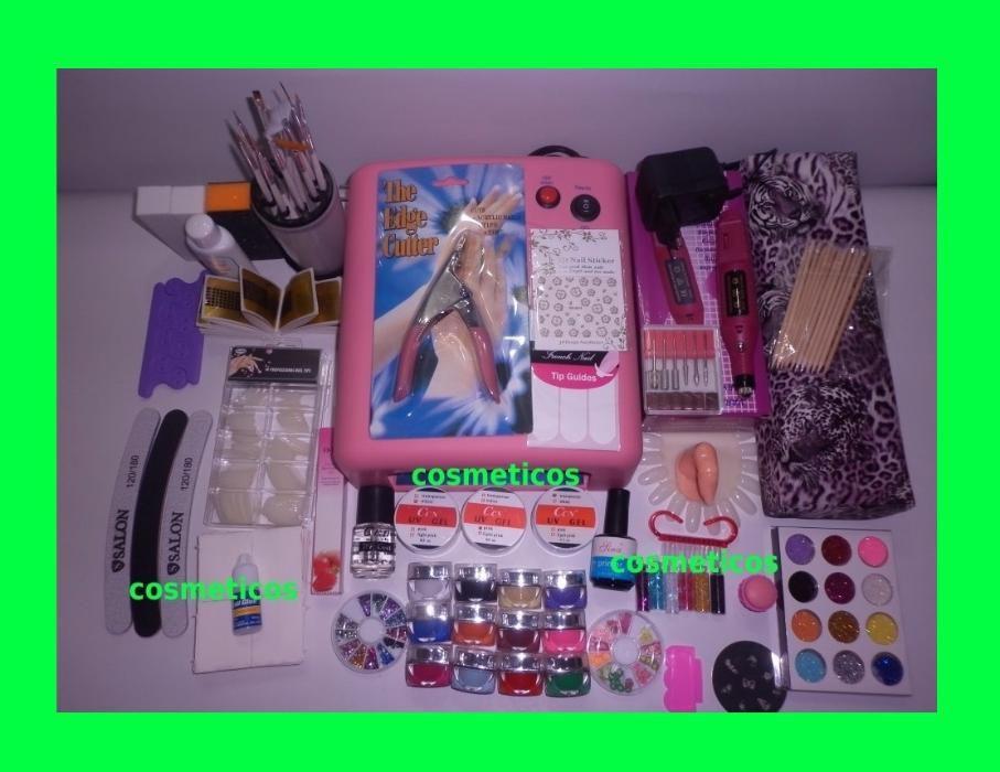 Kit unghii gel / set unghii false- lampa, pila ,geluri colorate -EXTRA