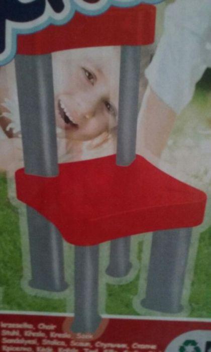 Scaun copii, din plastic, robust, cu spatar, Mochtoys, NOU, rosu-gri