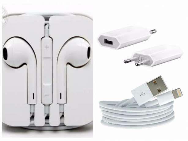 Pachet Casti, Incarcator, Cablu Usb Compatibil Iphone