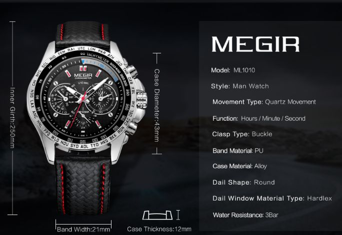 Vendo relógio de homem da marca Megir