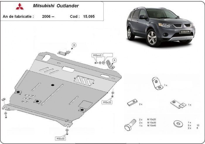Scut metalic pentru motor Mitsubishi Outlander 2006-2012 - otel 3mm