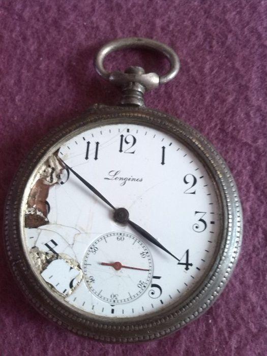 """Vand ceas vechi de buzunar Elvetian din argentan, marca """"LONGINES"""""""