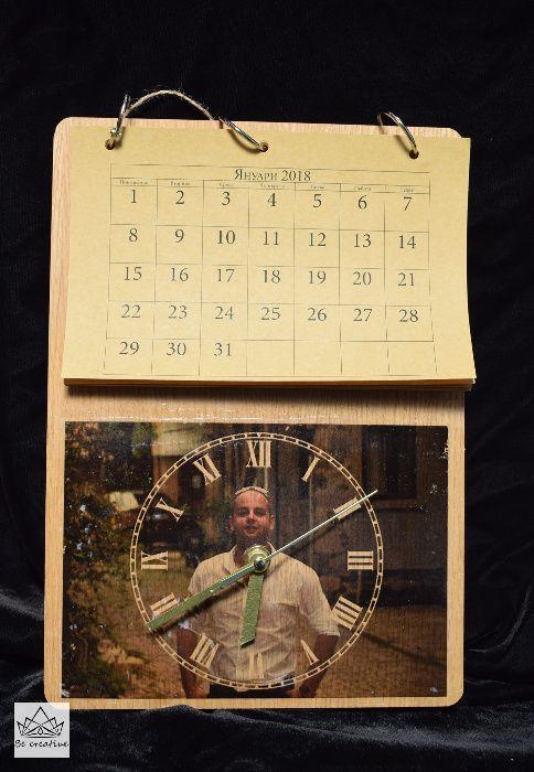 Ръчно изработен календар от дърво с ВАША снимка и часовник
