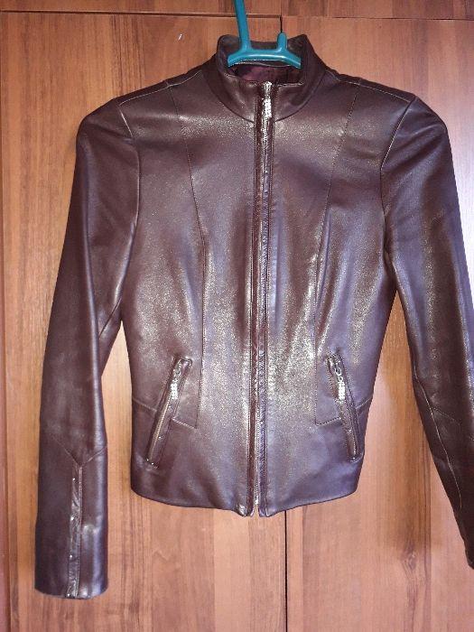 Куртка кожаная коричневая осень-весна