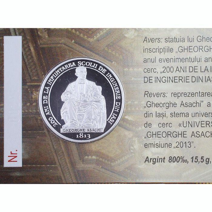 Moneda omagila Gh Asachi argint 2013