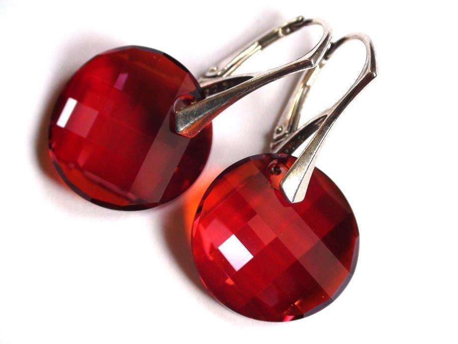 Cercei Swarovski mari, culoare rosu coniac