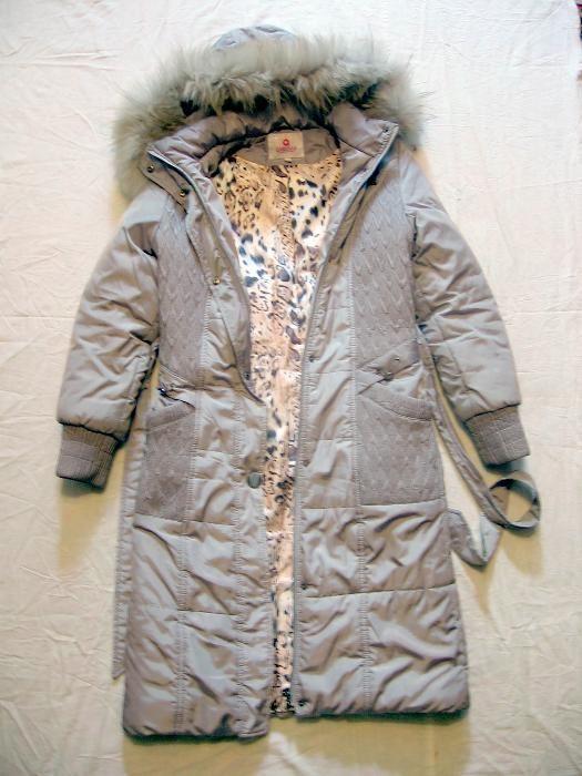 Куртка - Пальто женская серая с капюшоном на синтепоне. Размер 42 - 44