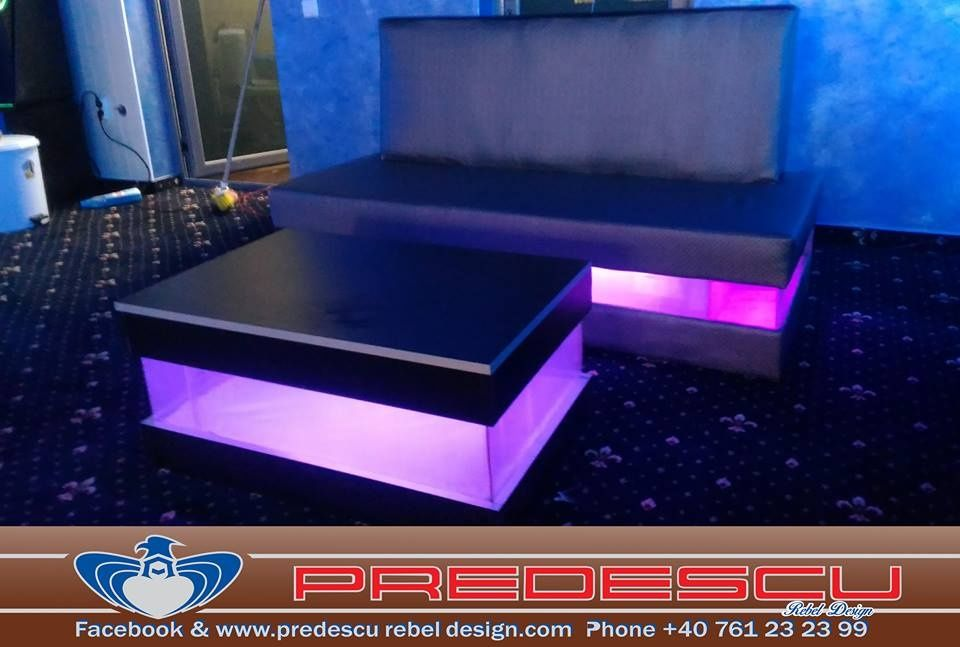 Set Coltar sau Canapea Masa Club Bar cu lumina Led RGB Model CASI