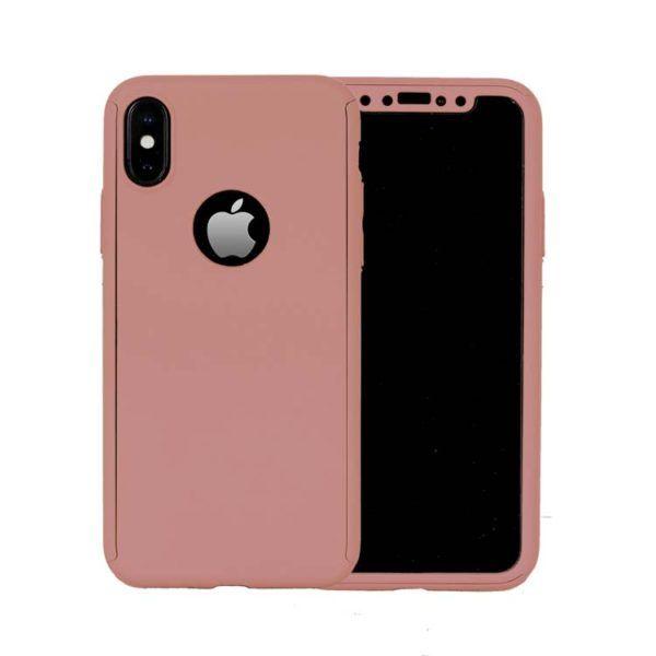 Husa 360 grade pentru iPhone X Rose-Gold