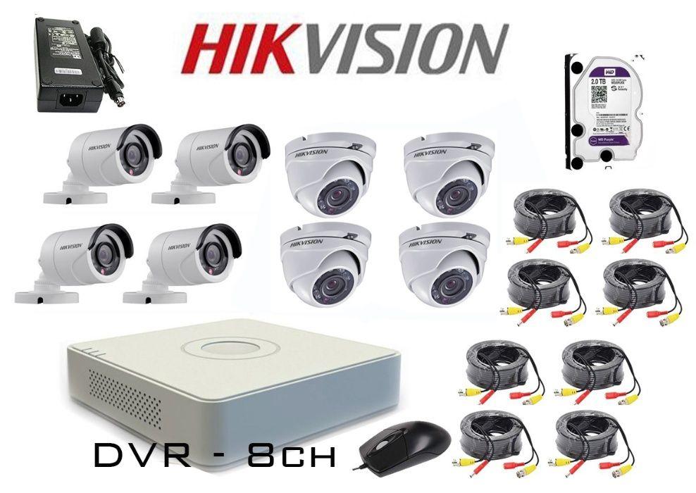Комплект за видеонаблюдение с 8 HD-TVI камери HIKVISION + захр+HDD