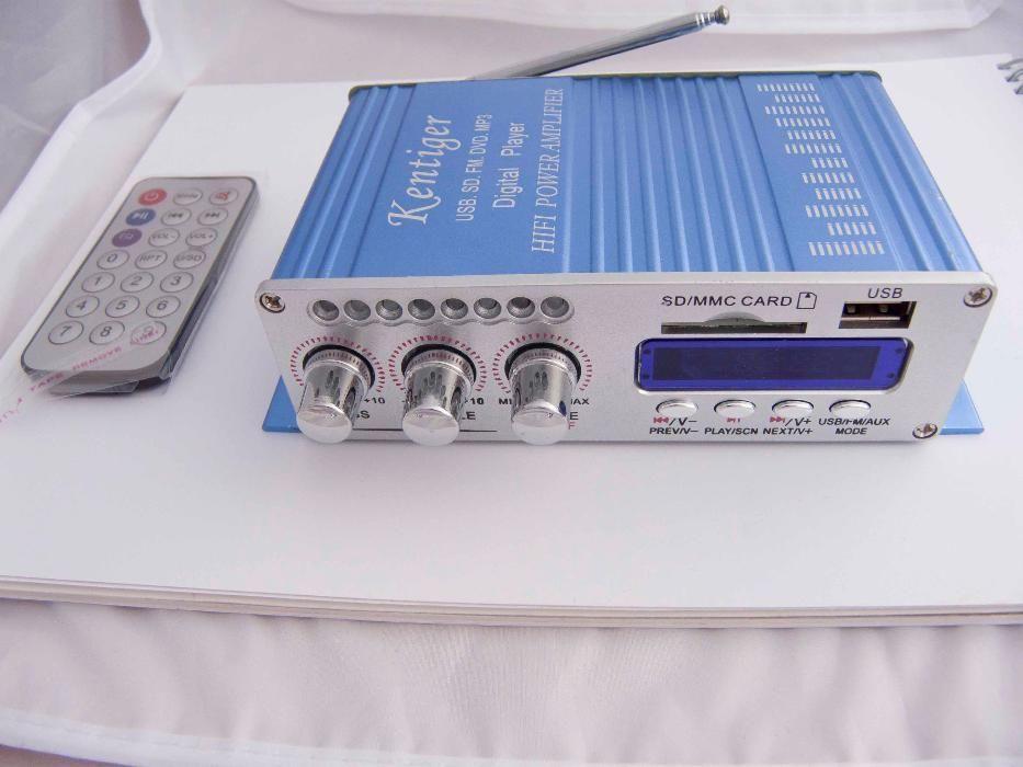 Аудио усилвател 2x20W с цифрово радио и USB SD card входове за музика