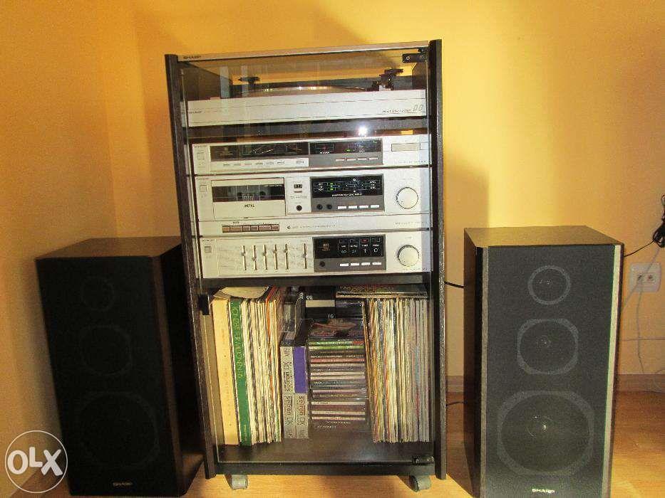 Vand Combina Sharp system rack regal stereo,cu 88 disc vinil,32 casete