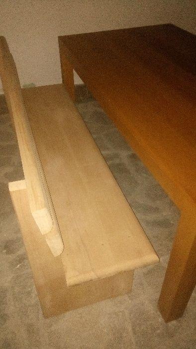 Маса от парен бук 100х 100 см, 200х 100 см, пейки 200 и 100 см
